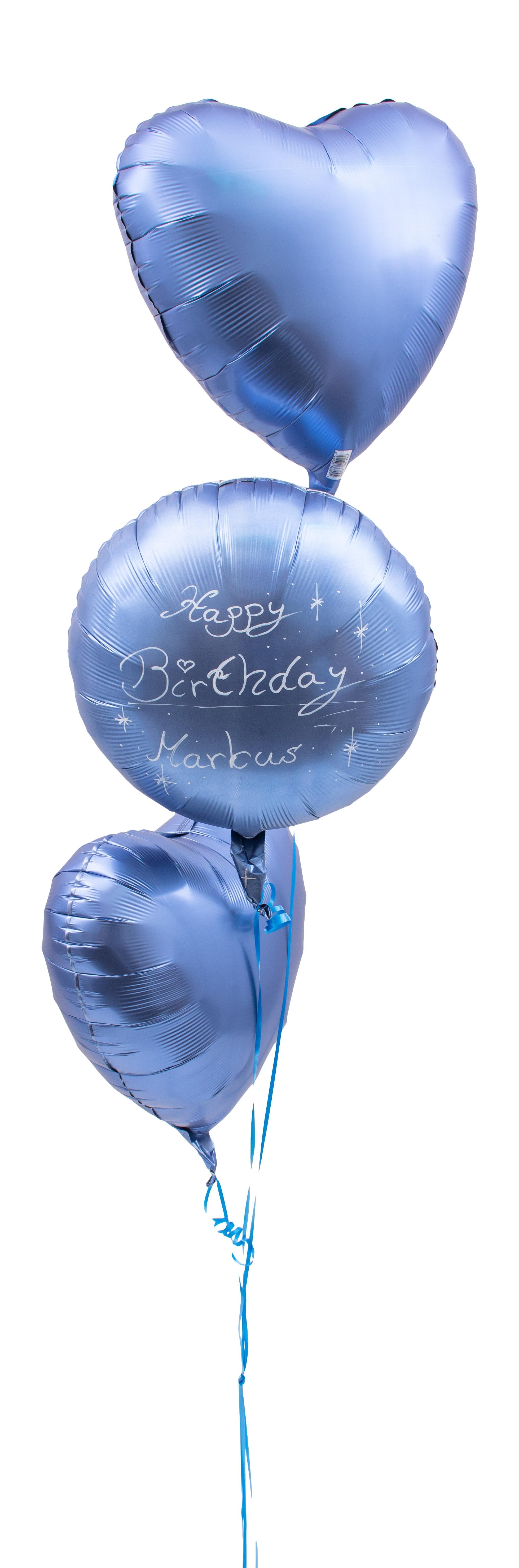 Ballon Strauß Satin Blau Handbeschriftet