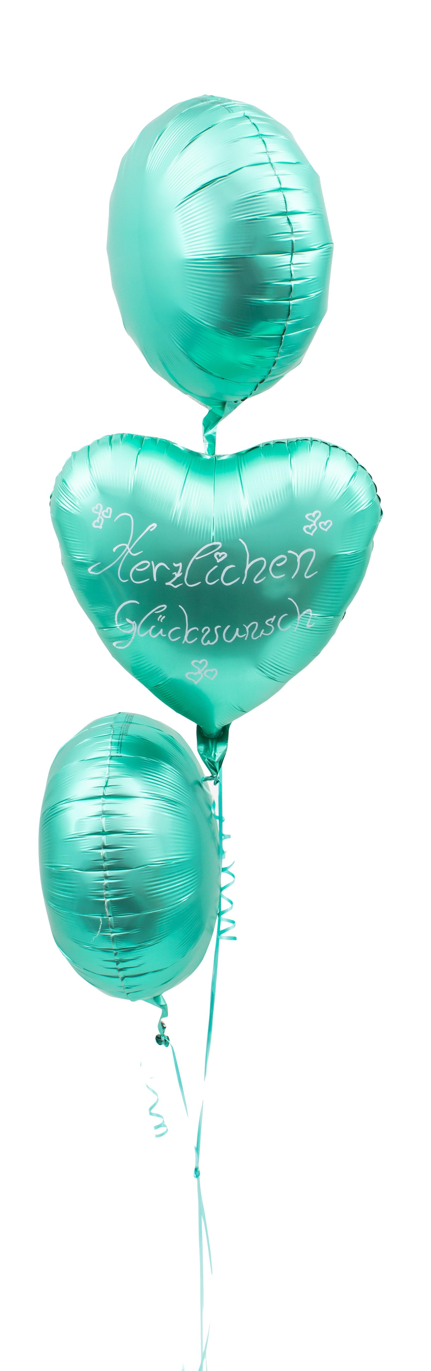 Ballon Strauß Satin Grün Handbeschriftet