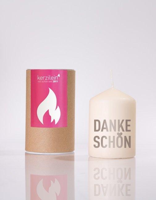 """Kerze Grau """"Danke Schön"""""""